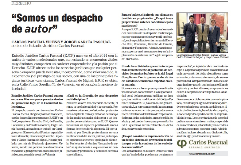 EJCP, en el suplemento Excelencia Empresarial del diario El País